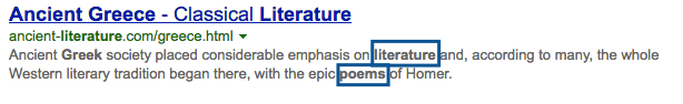 "screenshot of bing search for ""greek poetry"" also discovering ""literature"""