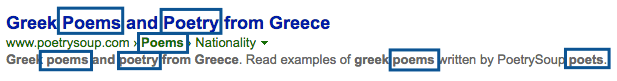 "screenshot of bing search ""greek poetry"" also yields ""poems"""