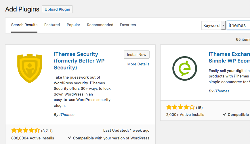 "screenshot of wordpress find plugin page with keyword ""ithemes"""