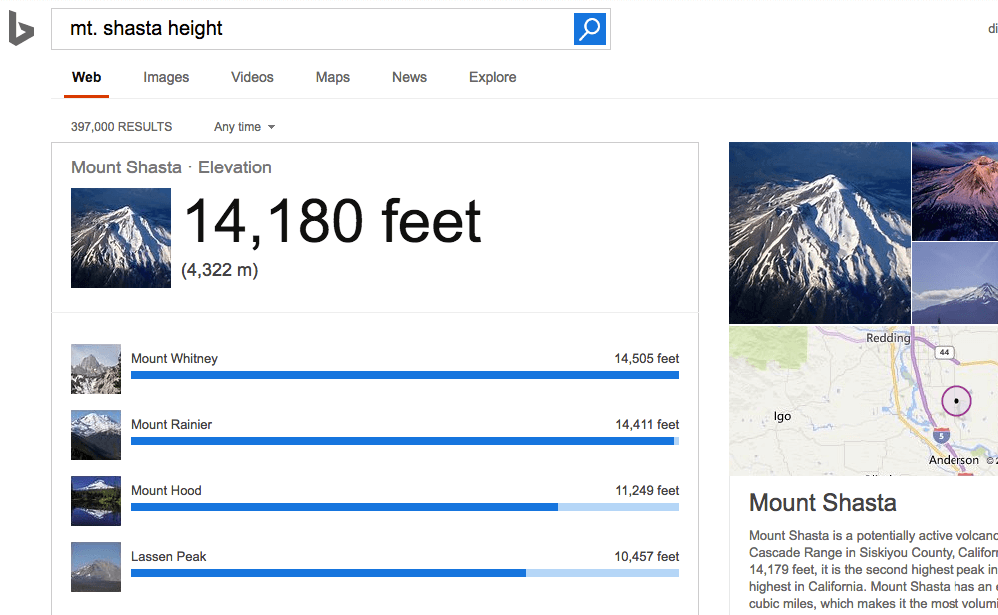 "Screenshot of Bing query ""mt shasta"""